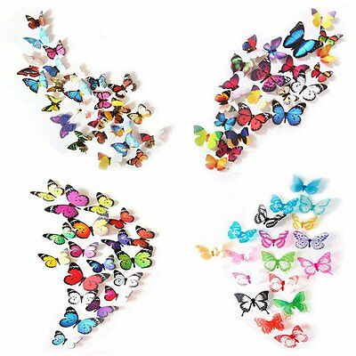 80 x PCS 3D Colorful Butterfly Wall Stickers DIY Art Decor Crafts For Nursery