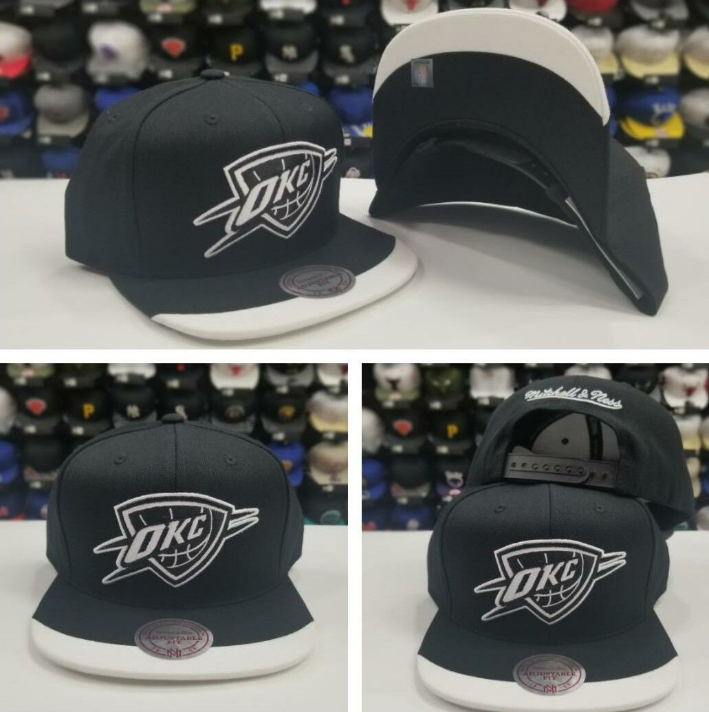 Details about Mitchell   Ness Oklahoma Thunder Black   White Dipped Visor OKC  Snapback Hat c7a29dfa3c6