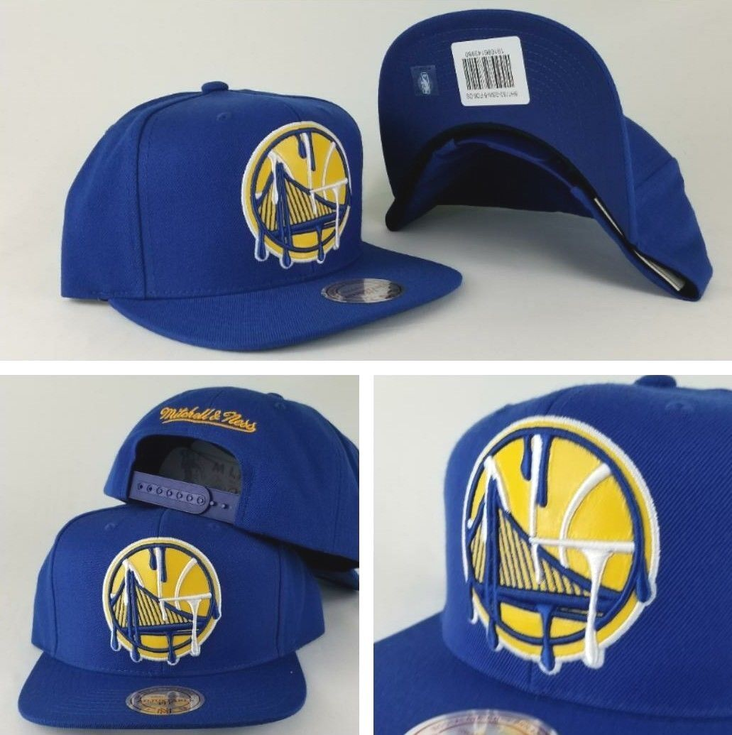 1884033d71e33 ... closeout mitchell ness golden state warriors royal blue paint dripped snapback  hat 7010d 52703