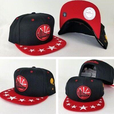 new style 9d040 165e5 Mitchell   Ness Golden State Warriors Visor Stars Adjustable snapback Hat  Cap