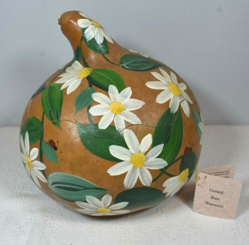 Bread Bun Warmer Unique Colorful Hand Crafted / Painted GOURD with White Daisies