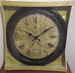 "Global Map Clock With Distressed Finish 15.75"" 40cm W/ Roman Numerals New In Box"