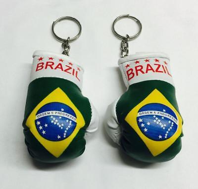 BRAZIL COUNTRY FLAG MINI BOXING GLOVES KEYCHAIN Brazil Country Flag