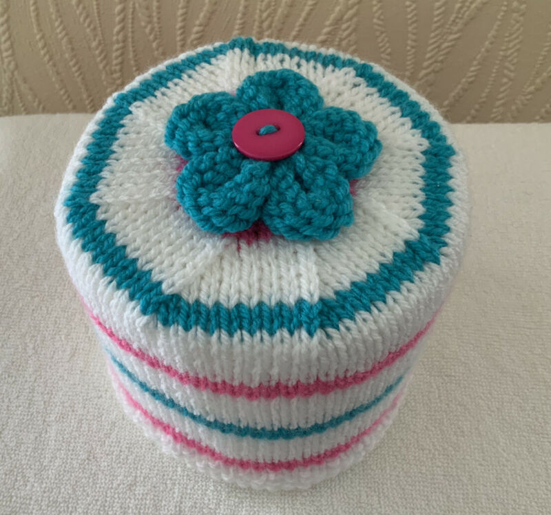 Hand+Knitted+Pink+Blue+%26+White+Stripe+Toilet+Roll+Holder+with+Flower+Topper