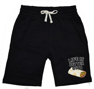 Men's Life Is Better W/Burrito KT T136 Fleece shorts sweatpants jogger Funny