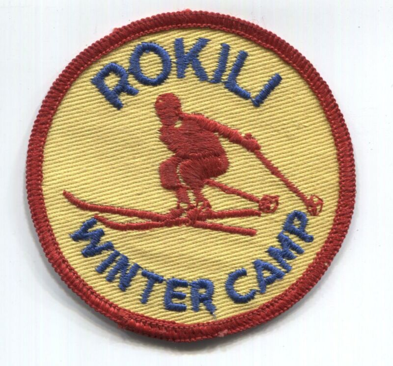 BSA Orange Empire Council scout patch - WINTER CAMP ROKILI  - red border + skier
