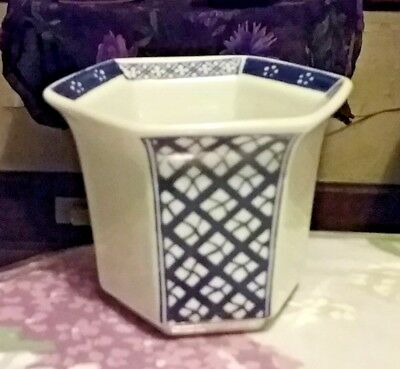 KOREAN WHITE PORCELAIN HEXAGON PLANTER VASE  SIGNED &  HAS A TRADEMARK!