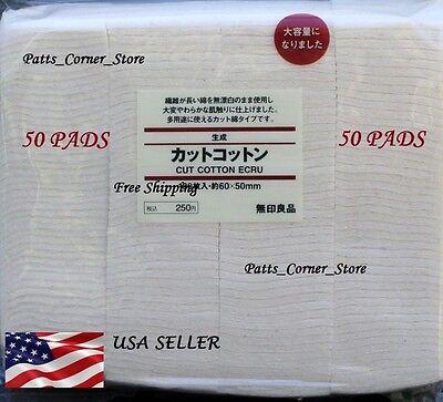 Muji Japanese Organic Cotton  {50 PADS}  Unbleached 100% Natural rda vape wick