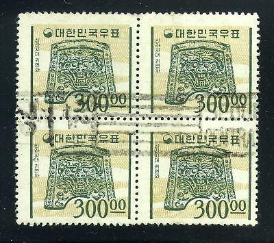 1964-1966 Korea SC 374 Block of 4 Used, 300w Slate Green & Buff*