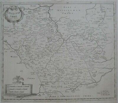 Original 1753 Robert Morden Map LEICESTERSHIRE England Melton Mowbray Donington