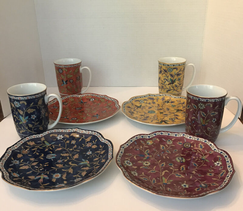 """4 Vintage 1983 Takahashi Hand Decorated Floral Silk Road Plates 7 1/2"""" and Cups"""