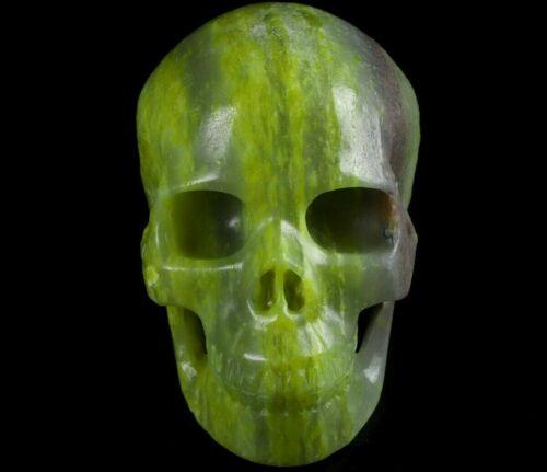Huge 5.0 IN Genuine SERPENTINE  Carved Crystal Skull, Realistic, Healing #1392