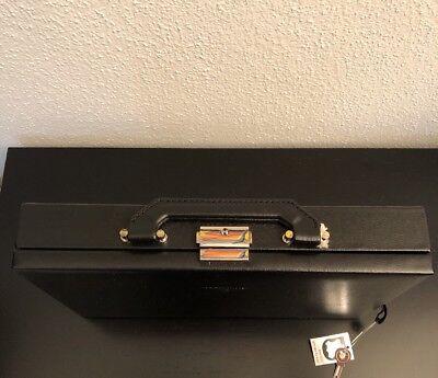 Windrose Schmuckkoffer Schmuckbox, 28 cm, Leder, schwarz, NEU