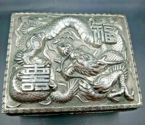Vintage Japanese Asian Silver plated Embossed Dragon Trinket Box- Japan