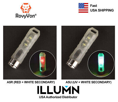 Rovyvon Aurora A5 Glow in the Dark Rechargeable Keychain Flashlight (UV or Red) (Red Glow In The Dark)