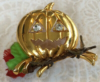 Beautiful Rare Vintage Estate AVON Pumpkin Jack O Lantern Halloween Brooch BB129