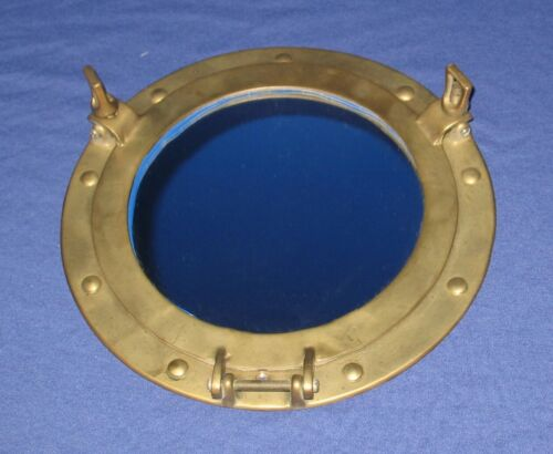 VINTAGE NAUTICAL PORTHOLE MIRROR ANTIQUE BRASS MARITIME DECOR 11-1/2""