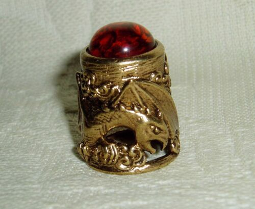 """Russian Сollectible Decorative Brass Thimble """"The Dragon"""" Magic Baltic amber"""