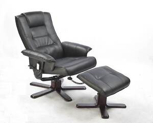 ON SALE - PU Leather Massage Chair Recliner Ottoman Lounge Remote Silverwater Auburn Area Preview