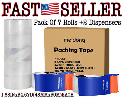 7 Rolls Shipping Packing Tape With 2 Dispensers 1.88x 54.6yd Ea - New Fast