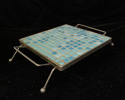 Vintage 50S 60S Mid Century Modern Mosaic Tile Aqua Blue Metal Atomic Trivet