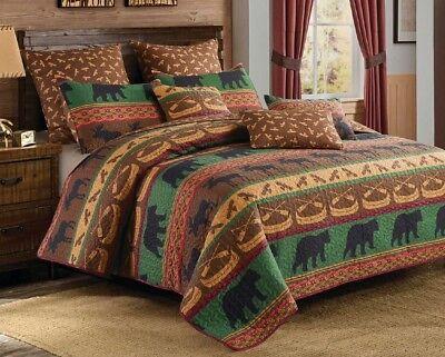 LODGE PRESERVE 3pc King QUILT SET : BLACK BEAR MOOSE LOG CABIN SOUTHWEST BEDDING Log Bed Set