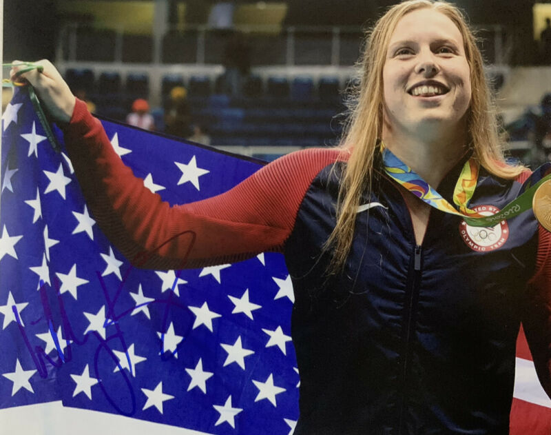 LILLY KING HAND SIGNED 8x10 PHOTO USA OLYMPICS SWIMMER AUTOGRAPH COA