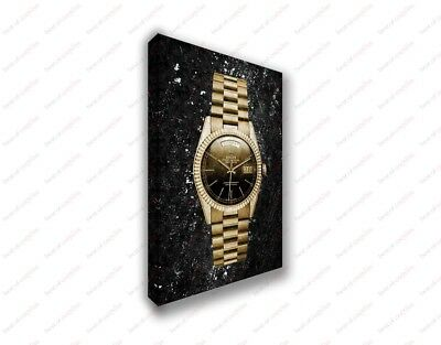 Rolex Gold Watch Vintage Design Poster Canvas Print Art Decor Wall - Gold Rolex Replica
