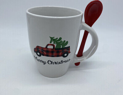 11 OZ Merry Christmas Red Plaid Truck With Tree In Truck Bed Mug Spoon Set NEW