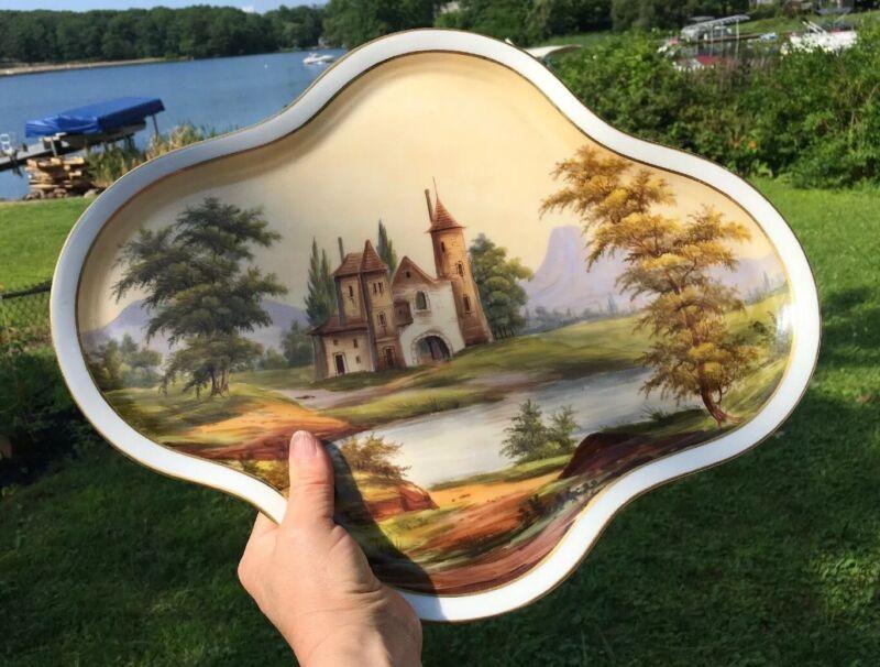 """RARE Charles Pillivuyt 1867 Paris Porcelain HP Tray & Cup Landscape  15"""" Limoges"""