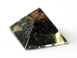 REIKI ENERGY CHARGED BLACK TOURMALINE ORGONE PYRAMID POWERFUL ENERGY GENERATOR