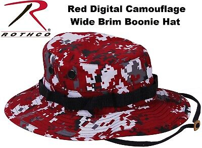 Digital Red Camouflage Military Wide Brim Tactical Bucket Boonie Hat 5411 Rothco - Red Bucket Hats