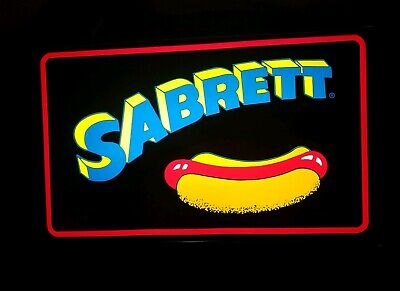 Sabrett Light-up Hot Dog Plastic Hanging Sign 21 X 13