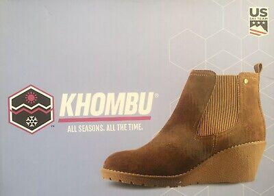 "Khombu ""Liz"" - Memory Foam Suede Leather Wedge Ankle Boots - Chestnut UK Size 4"