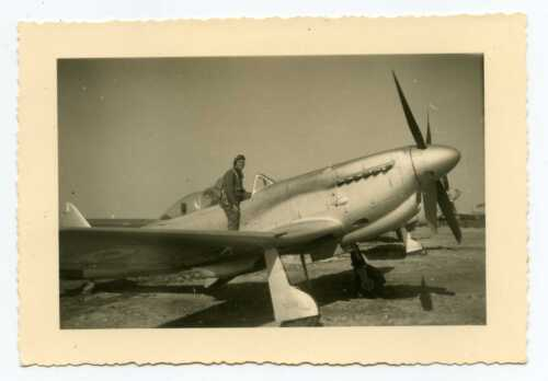Pilot of the Red Air Force with Soviet Fighter Aircraft YAK-9 RARE PHOTO 1940s