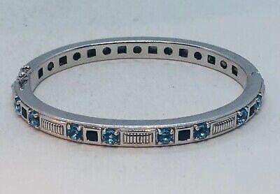 Judith Ripka Sterling Silver & Blue Topaz Bangle Bracelet