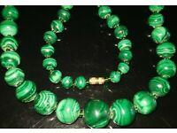 Malachite Necklace 8mm Malakite Beads Various Lengths Genuine Malachite Stone
