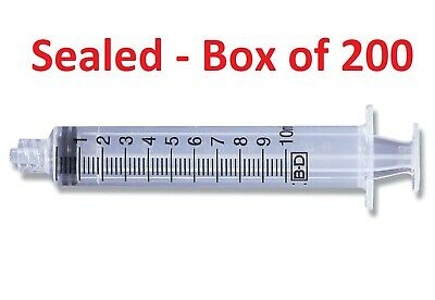 Box Of 200 Bd Syringe 10ml Luer-lok Tip 302995 New Sealed