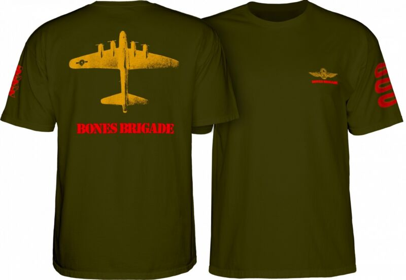 Powell Peralta BONES BRIGADE BOMBER Skateboard Shirt MILITARY GREEN XL
