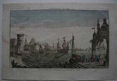 Optical view Guckkastenblatt Hafen Istambul Türkei Orig Kupferstich 1750