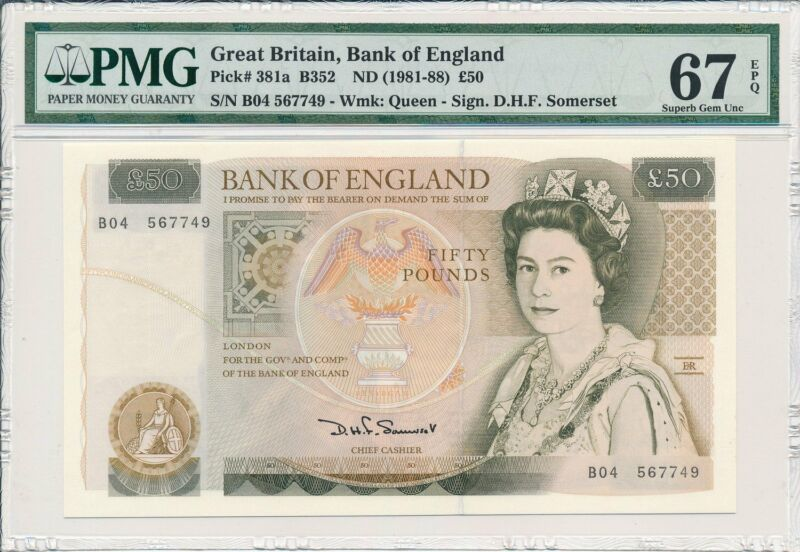 Bank of England Great Britain  50 Pounds ND(1981-88)  PMG  67EPQ