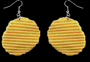 Huge-Funky-Realistic-POTATO-CHIP-EARRINGS-Funny-Punk-Snack-Food-Costume-Jewelry