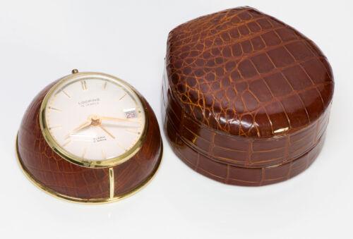 Looping Swiss Alarm Desk Clock 8 Days 15 Jewels Crocodile Case