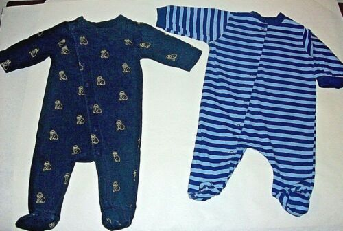 Infant Baby Boys 0-3 Mo. Lot Of 2 Footed Sleeper Pj