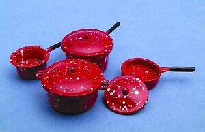 1-12-Set-Of-4-Red-Metal-Saucepans-Dolls-House-Miniature-Kitchen-Accessory-183