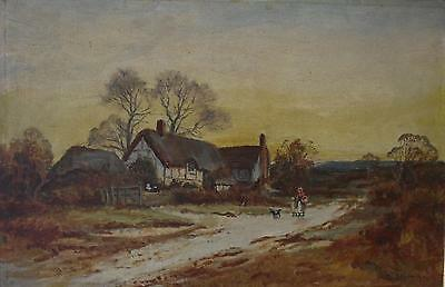 Daniel Sherrin (British 1868-1940) Figures before Cottages Oil Painting c1900