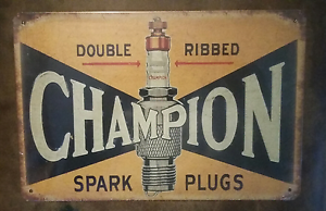 Champion spark plugs tin sign 30cm x 20cm Burleigh Waters Gold Coast South Preview