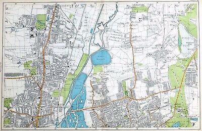 LONDON, 1919 - TOTTENHAM, WALTHAMSTOW, CHINGFORD , Original Antique Map