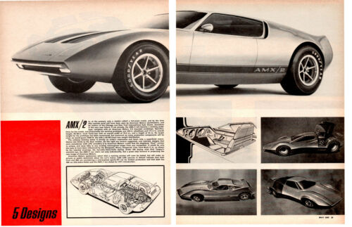 1969 AMX/2 PROTOTYPE ~  ORIGINAL 2-PAGE ARTICLE / AD