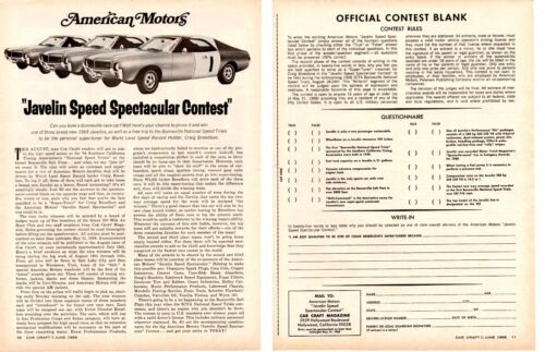 1968 AMC JAVELIN / BONNEVILLE SPEED SPECTACULAR CONTEST ~  ORIGINAL 2-PAGE AD